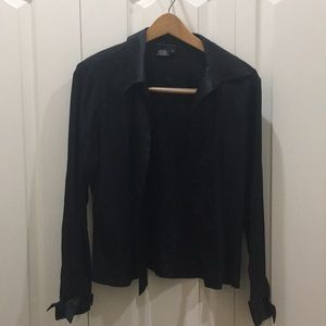 Oxygen Black Silk Collared Long Sleeve